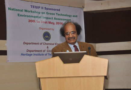 Padmashree Prof. (Dr.) G.D.Yadav, VC, Institute of Chemical Technology Mumbai addressed the students and faculty members in the plenary session of the National Workshop on Green technology